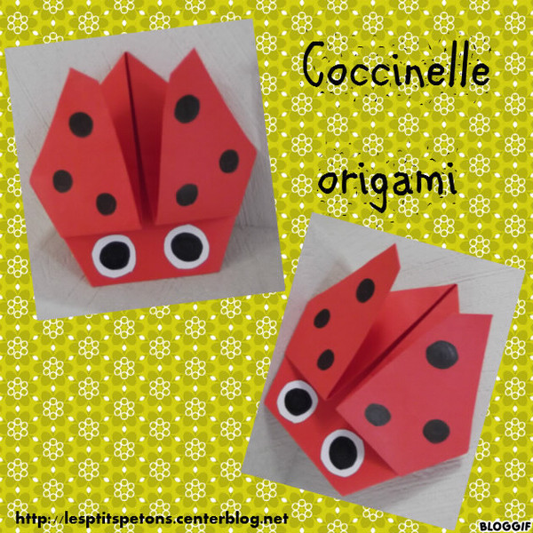 Coccinelle origami - Origami simple enfant ...